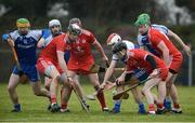 18 February 2018; Players from both sides compete for the ball during the Allianz Hurling League Division 3A Round 3 match between Monaghan and Tyrone at Páirc Grattan in Inniskeen, Monaghan. Photo by Oliver McVeigh/Sportsfile