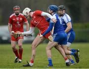 18 February 2018; Pierce O'Kelly of Tyrone in action against Fergal Rafter of Monaghan during the Allianz Hurling League Division 3A Round 3 match between Monaghan and Tyrone at Páirc Grattan in Inniskeen, Monaghan. Photo by Oliver McVeigh/Sportsfile