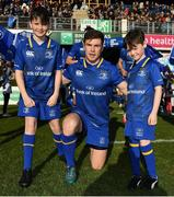 17 February 2018; Leinster mascots Robbie Jones, from Donnybrook, Dublin and Ethan Smyth, from Dublin with captain Luke McGrath prior to the Guinness PRO14 Round 15 match between Leinster and Scarlets at the RDS Arena in Dublin. Photo by Brendan Moran/Sportsfile