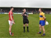 18 February 2018; Referee Paul O'Dwyer with captains Seamus Harnedy of Cork, left, and Patrick O'Connor of Clare during the coin toss prior to the Allianz Hurling League Division 1A Round 3 match between Clare and Cork at Cusack Park in Ennis, Clare. Photo by Seb Daly/Sportsfile
