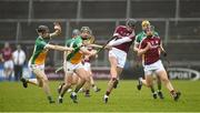 18 February 2018; Aidan Harte of Galway in action against Colm Gath and David King of Offaly during the Allianz Hurling League Division 1B Round 3 match between Galway and Offaly at Pearse Stadium in Galway. Photo by Matt Browne/Sportsfile