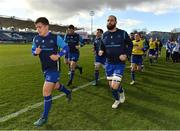 17 February 2018; Captain Luke McGrath, left, and Scott Fardy lead the Leinster team on a lap of the pitch prior to the Guinness PRO14 Round 15 match between Leinster and Scarlets at the RDS Arena in Dublin. Photo by Brendan Moran/Sportsfile
