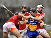18 February 2018; David Reidy of Clare in action against Christopher Joyce, left, and Colm Spillane of Cork during the Allianz Hurling League Division 1A Round 3 match between Clare and Cork at Cusack Park in Ennis, Clare. Photo by Seb Daly/Sportsfile