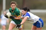 18 February 2018; Amanda Brosnan of Kerry in action against Josie Fitzpatrick of Monaghan during the Lidl Ladies Football National League Division 1 Round 3 refixture match between Monaghan and Kerry at IT Blanchardstown in Blanchardstown, Dublin. Photo by Piaras Ó Mídheach/Sportsfile