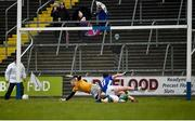 18 February 2018; Conor Moynagh of Cavan scores his side's first goal during the Allianz Football League Division 2 Round 3 Refixture match between Cavan and Meath at Kingspan Breffni in Cavan.  Photo by Philip Fitzpatrick/Sportsfile