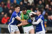 18 February 2018; Graham Reilly of Meath in action against Dara McVeety, left, and Niall Murray of Cavan during the Allianz Football League Division 2 Round 3 Refixture match between Cavan and Meath at Kingspan Breffni in Cavan.  Photo by Philip Fitzpatrick/Sportsfile