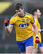 18 February 2018; Cathal Cregg of Roscommon celebrates after scoring his side's first goal during the Connacht FBD League Final match between Roscommon and Galway at Dr Hyde Park in Roscommon. Photo by Harry Murphy/Sportsfile