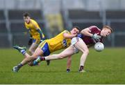 18 February 2018; Cein D'Arcy of Galway is tackled by Conor Daly of Roscommon during the Connacht FBD League Final match between Roscommon and Galway at Dr Hyde Park in Roscommon. Photo by Harry Murphy/Sportsfile