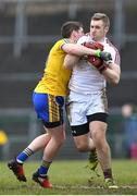 18 February 2018; Ronan O Beolain of Galway in action against Fintan Cregg of Roscommon during the Connacht FBD League Final match between Roscommon and Galway at Dr Hyde Park in Roscommon. Photo by Harry Murphy/SportsfilePhoto by Harry Murphy/Sportsfile