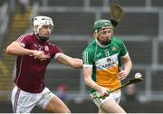 18 February 2018; Damien Egan of Offaly in action against Gearoid McInerney of Galway during the Allianz Hurling League Division 1B Round 3 match between Galway and Offaly at Pearse Stadium in Galway. Photo by Matt Browne/Sportsfile