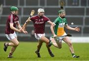 18 February 2018; Damien Egan of Offaly in action against Shane Cooney, far left, and Gearoid McInerney of Galway during the Allianz Hurling League Division 1B Round 3 match between Galway and Offaly at Pearse Stadium in Galway. Photo by Matt Browne/Sportsfile