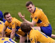 18 February 2018; Tony Kelly of Clare in conversation with team-mates Colm Galvin, left, and Shane O'Donnell, front, as they warm down following their side's victory during the Allianz Hurling League Division 1A Round 3 match between Clare and Cork at Cusack Park in Ennis, Clare. Photo by Seb Daly/Sportsfile
