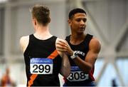 18 February 2018; Leon Reid of Menapians AC, Co Wexford, right, is congratulated by Keith Pike of Clonliffe Harriers AC, Co Dublin, after winning the Senior Mens 60m during the Irish Life Health National Senior Indoor Athletics Championships at the National Indoor Arena in Abbotstown, Dublin. Photo by Sam Barnes/Sportsfile