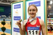18 February 2018; Amy Foster of City of Lisburn AC, Co Down, with her gold medal after winning the Senior Women 60m during the Irish Life Health National Senior Indoor Athletics Championships at the National Indoor Arena in Abbotstown, Dublin. Photo by Sam Barnes/Sportsfile