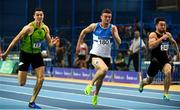 18 February 2018; Marcus Lawler of St. L. O'Toole AC, Co Carlow, on his way to finishing second in the Mens 60m during the Irish Life Health National Senior Indoor Athletics Championships at the National Indoor Arena in Abbotstown, Dublin. Photo by Sam Barnes/Sportsfile