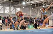 18 February 2018; Amy Foster of City of Lisburn AC, Co Down, centre, on her way to winning the Senior Women 60m during the Irish Life Health National Senior Indoor Athletics Championships at the National Indoor Arena in Abbotstown, Dublin. Photo by Sam Barnes/Sportsfile