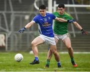 18 February 2018; Caoimhin O'Reilly of Cavan in action against Eamon Wallace of Meath during the Allianz Football League Division 2 Round 3 Refixture match between Cavan and Meath at Kingspan Breffni in Cavan.  Photo by Philip Fitzpatrick/Sportsfile