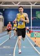 18 February 2018; Mark English of UCD AC, Co Dublin, crosses the line to win the Senior Men 800m during the Irish Life Health National Senior Indoor Athletics Championships at the National Indoor Arena in Abbotstown, Dublin. Photo by Sam Barnes/Sportsfile