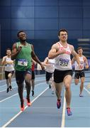 18 February 2018; Andrew Mellon of Crusaders AC, Co Dublin, on his way to winning the Senior Men 400m during the Irish Life Health National Senior Indoor Athletics Championships at the National Indoor Arena in Abbotstown, Dublin. Photo by Sam Barnes/Sportsfile