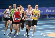 18 February 2018; Kevin Woods of Crusaders AC, Co Dublin, leads the field during the Senior Men 800m during the Irish Life Health National Senior Indoor Athletics Championships at the National Indoor Arena in Abbotstown, Dublin. Photo by Sam Barnes/Sportsfile