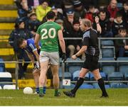 18 February 2018; Referee Ciaran Branagan sends off Harry Rooney of Meath during the Allianz Football League Division 2 Round 3 Refixture match between Cavan and Meath at Kingspan Breffni in Cavan.  Photo by Philip Fitzpatrick/Sportsfile