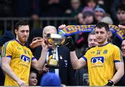 18 February 2018; Conor Devaney, left, and Ciarain Murtagh of Roscommon lift the cup after the Connacht FBD League Final match between Roscommon and Galway at Dr Hyde Park in Roscommon. Photo by Harry Murphy/Sportsfile