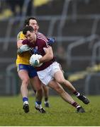 18 February 2018; Johnny Duane of Galway is tackled by Niall Kilroy of Roscommon during the Connacht FBD League Final match between Roscommon and Galway at Dr Hyde Park in Roscommon. Photo by Harry Murphy/Sportsfile