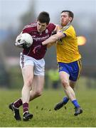 18 February 2018; Cein D'Arcy of Galway in action against Conor Devaney of Roscommon during the Connacht FBD League Final match between Roscommon and Galway at Dr Hyde Park in Roscommon. Photo by Harry Murphy/Sportsfile