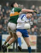 18 February 2018; Owen Duffy of Monaghan in action against Paul Geaney of Kerry during the Allianz Football League Division 1 Round 3 Refixture match between Monaghan and Kerry at Páirc Grattan in Inniskeen, Monaghan. Photo by Oliver McVeigh/Sportsfile