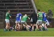 18 February 2018; Players from both side's tussle during the Allianz Football League Division 2 Round 3 Refixture match between Cavan and Meath at Kingspan Breffni in Cavan. Photo by Philip Fitzpatrick/Sportsfile