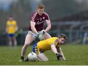 18 February 2018; Peter Domican of Roscommon in action against Ciaran Duggan of Galway during the Connacht FBD League Final match between Roscommon and Galway at Dr Hyde Park in Roscommon. Photo by Harry Murphy/Sportsfile