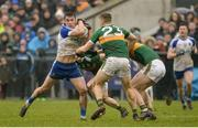 18 February 2018; Thomas Kerr of Monaghan in action against Peter Crowley of Kerry during the Allianz Football League Division 1 Round 3 Refixture match between Monaghan and Kerry at Páirc Grattan in Inniskeen, Monaghan. Photo by Oliver McVeigh/Sportsfile