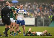 18 February 2018; Ronan Shanahan of Kerry lying injured after an incident, whilst referee Cormac Reilly speaks to Dermot Malone of Monaghan during the Allianz Football League Division 1 Round 3 Refixture match between Monaghan and Kerry at Páirc Grattan in Inniskeen, Monaghan. Photo by Oliver McVeigh/Sportsfile