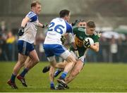 18 February 2018; Peter Crowley of Kerry in action against Paudie McKenna, left, Conor McManus, centre, and Dermot Malone of Monaghan during the Allianz Football League Division 1 Round 3 Refixture match between Monaghan and Kerry at Páirc Grattan in Inniskeen, Monaghan. Photo by Oliver McVeigh/Sportsfile