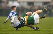 18 February 2018; Peter Crowley of Kerry in action against Dessie Ward of Monaghan during the Allianz Football League Division 1 Round 3 Refixture match between Monaghan and Kerry at Páirc Grattan in Inniskeen, Monaghan. Photo by Oliver McVeigh/Sportsfile