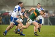 18 February 2018; Peter Crowley of Kerry in action against Conor McManus, far left, and Dermot Malone of Monaghan during the Allianz Football League Division 1 Round 3 Refixture match between Monaghan and Kerry at Páirc Grattan in Inniskeen, Monaghan. Photo by Oliver McVeigh/Sportsfile