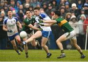 18 February 2018; Fintan Kelly of Monaghan in action against Brian Ó Beaglaíoch of Kerry during the Allianz Football League Division 1 Round 3 Refixture match between Monaghan and Kerry at Páirc Grattan in Inniskeen, Monaghan. Photo by Oliver McVeigh/Sportsfile