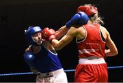 17 February 2018; Ciara Ginty, left, Geesla, Co. Mayo in action against Gillian Duffy, Bray, County Wicklow, during their bout at the 2018 IABA Elite Boxing Championships Semi-Finals at the National Stadium in Dublin. Photo by Barry Cregg/Sportsfile