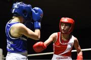 17 February 2018; Tiegan Russell, right, Fr.Horgans, County Cork in action against Michaela Walsh, Monkstown, Dublin, during their bout at the 2018 IABA Elite Boxing Championships Semi-Finals at the National Stadium in Dublin. Photo by Barry Cregg/Sportsfile