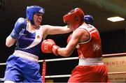 17 February 2018; Ciara Sheedy, left, Ardnaree, County Mayo, in action against Grainne Walsh, Sparticus, Tullamore, County Offaly during their bout at the 2018 IABA Elite Boxing Championships Semi-Finals at the National Stadium in Dublin. Photo by Barry Cregg/Sportsfile