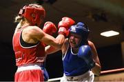 17 February 2018; Gillian Duffy, Bray, County Wicklow, left, in action against Ciara Ginty, Geesla, County Mayo during their bout at the 2018 IABA Elite Boxing Championships Semi-Finals at the National Stadium in Dublin. Photo by Barry Cregg/Sportsfile