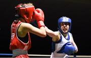 17 February 2018; Shannon Sweeney, right, St. Annes, Co. Mayo in action against Courtney Daly, left, Crumlin, Dublin, during their bout at the 2018 IABA Elite Boxing Championships Semi-Finals at the National Stadium in Dublin. Photo by Barry Cregg/Sportsfile