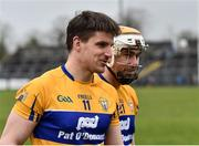 18 February 2018; John Conlon, left, and Conor McGrath of Clare leave the field following their side's victory during the Allianz Hurling League Division 1A Round 3 match between Clare and Cork at Cusack Park in Ennis, Clare. Photo by Seb Daly/Sportsfile