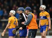 18 February 2018; Clare joint manager Gerry O'Connor talks to his goalkeeper Donal Tuohy during the Allianz Hurling League Division 1A Round 3 match between Clare and Cork at Cusack Park in Ennis, Clare. Photo by Seb Daly/Sportsfile