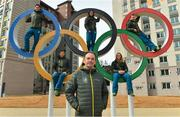 19 February 2018; Team Ireland athletes, from left, snowboarder Seamus O'Connor, cross country skier Thomas Maloney Westgaard, alpine skier Tess Arbez, freestlye skier Brendan Newby and alpine skier Patrick McMillan with Chef de Mission Stephen Martin photographed in the Athletes Village at the Winter Olympics in Pyeongchang-gun, South Korea. Photo by Ramsey Cardy/Sportsfile
