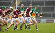 18 February 2018; Damien Egan of Offaly in action against Galway during the Allianz Hurling League Division 1B Round 3 match between Galway and Offaly at Pearse Stadium in Galway. Photo by Matt Browne/Sportsfile