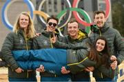 19 February 2018; Team Ireland athletes, from left, freestlye skier Brendan Newby, snowboarder Seamus O'Connor, alpine skier Patrick McMillan, cross country skier Thomas Maloney Westgaard and alpine skier Tess Arbez photographed in the Athletes Village at the Winter Olympics in Pyeongchang-gun, South Korea. Photo by Ramsey Cardy/Sportsfile