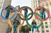 19 February 2018; Team Ireland athletes, from left, snowboarder Seamus O'Connor, cross country skier Thomas Maloney Westgaard, alpine skier Tess Arbez, freestlye skier Brendan Newby and alpine skier Patrick McMillan photographed in the Athletes Village at the Winter Olympics in Pyeongchang-gun, South Korea. Photo by Ramsey Cardy/Sportsfile