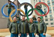 19 February 2018; Team Ireland athletes, from left, snowboarder Seamus O'Connor, cross country skier Thomas Maloney Westgaard, alpine skier Tess Arbez, freestlye skier Brendan Newby and alpine skier Patrick McMillan with coach Dominic McAleenan, Chef de Mission Stephen Martin, physio Sarah Jane McDonnell and coach Giorgio Marchesini photographed in the Athletes Village at the Winter Olympics in Pyeongchang-gun, South Korea. Photo by Ramsey Cardy/Sportsfile