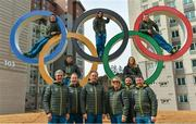 19 February 2018; Team Ireland athletes, from left, snowboarder Seamus O'Connor, cross country skier Thomas Maloney Westgaard, alpine skier Tess Arbez, freestlye skier Brendan Newby and alpine skier Patrick McMillan with 2nd vice-president Robert Norwood, coach Dominic McAleenan, Chef de Mission Stephen Martin, physio Sarah Jane McDonnell, coach Giorgio Marchesini and Executive committee member Denis Toomey photographed in the Athletes Village at the Winter Olympics in Pyeongchang-gun, South Korea. Photo by Ramsey Cardy/Sportsfile